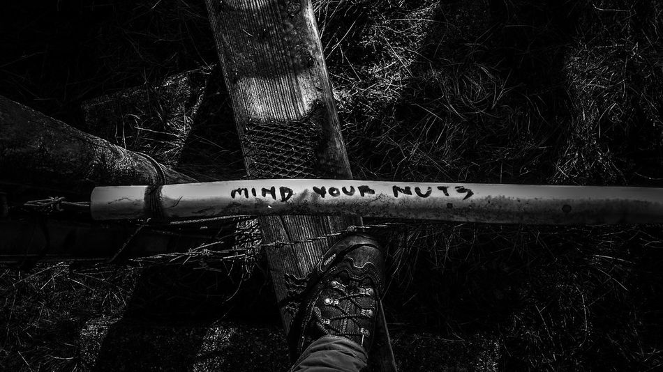Communication Adults Only Human Body Part Text Close-up Outdoors Day Nature Blackandwhite Photography Funny Signs Hiking Adventures Hiking Trail Foot Walking Boots Asolo Footwear Information Sign People