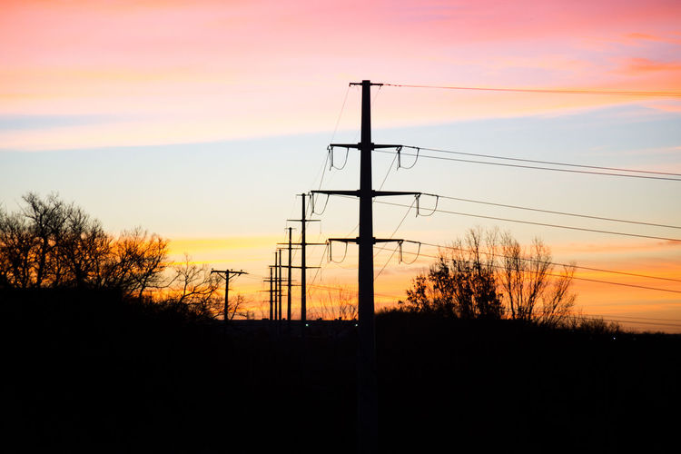 Power line at sunrise Connection Dramatic Sky Electricity  Electricity Pylon Fuel And Power Generation Power Line  Silhouette Sky Sunrise Silhouette Sunset Technology