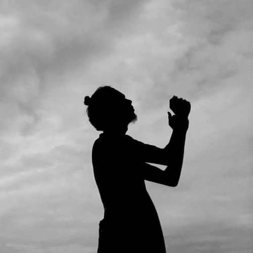 May everything gonna be alright Silhouette Love Day Outdoors Sky Monochrome Photography Manbun Pray
