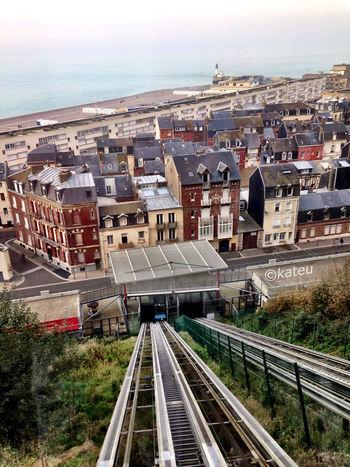 Le Tréport et sa barre de béton Le Treport Funicular Funiculaire  Normandie Normandy Plage Looking Down