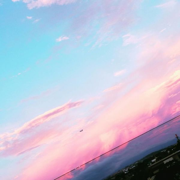 Flying Sunset Cloud - Sky Pink Color Low Angle View Outdoors No People Multi Colored Beauty In Nature Day Aviationphotography Aviation Aviones En El Cielo Little World