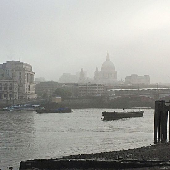 A bit foggy for today's commute... and if it wasn't for the cranes, the river taxi and the bridge this could be 100 years ago.CommutingnLondonoHistoricalal