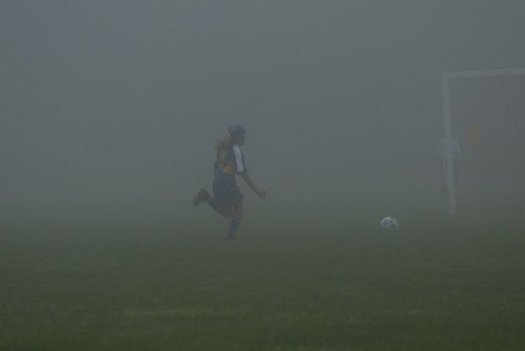 Soccer Player Soccer Field Running Foggy Morning