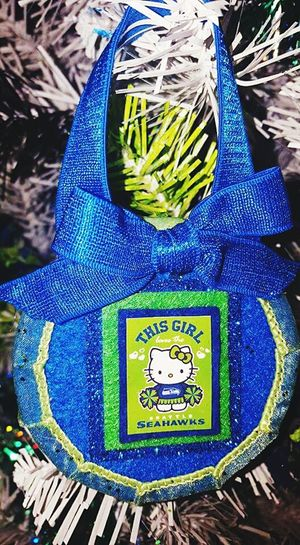 Seahawks 12th Man Close-up Ornaments Seahawks Fan Christmas Tree Christmas Decoration Decoration Hello Kitty Hello Kitty ❤ Homemade Ornaments Blue White Green Theme