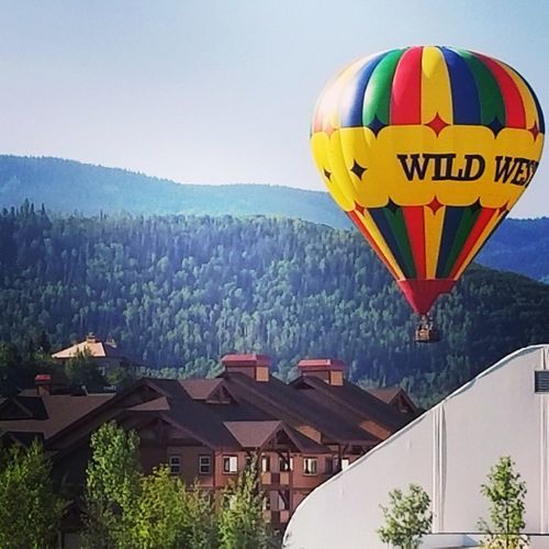 Steamboat Hot Air Balloon Mountain Multi Colored Flying Travel Adventure Mid-air