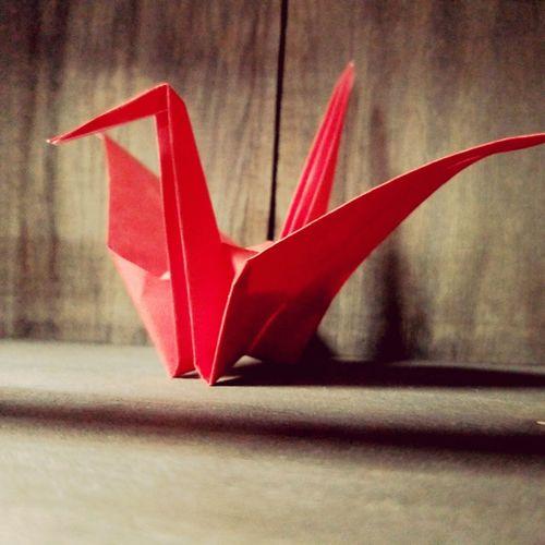 Folded paper crane Folded Paper Crane 折り鶴 Origami Art Origami Cranes Origami Craft Origami Red Close-up