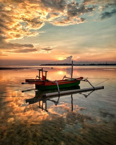 Reflection Sunset Transportation Water Cloud - Sky Outdoors Landscape No People Sea Sky Day Mode Of Transport Scenics Nautical Vessel Tranquility