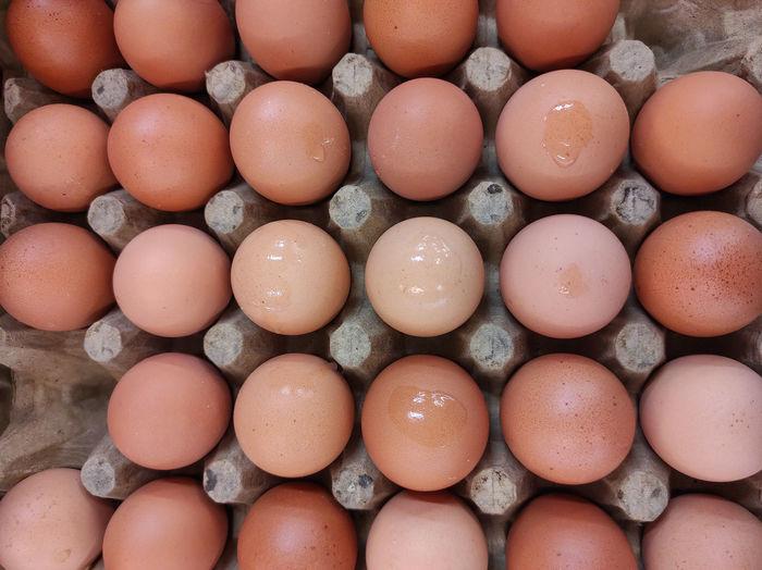 Full frame shot of eggs for sale in market