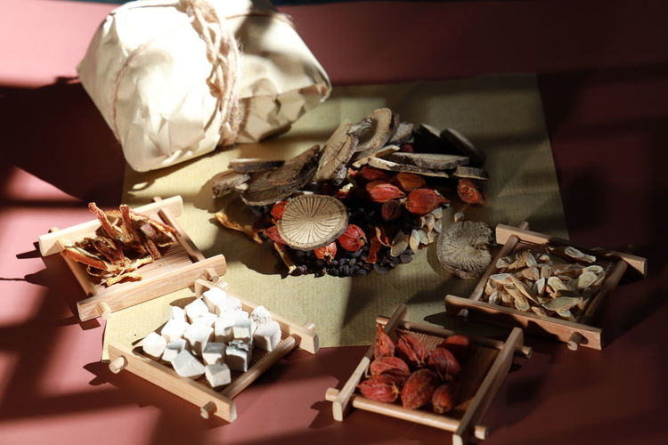 High angle view of dried fruits on table