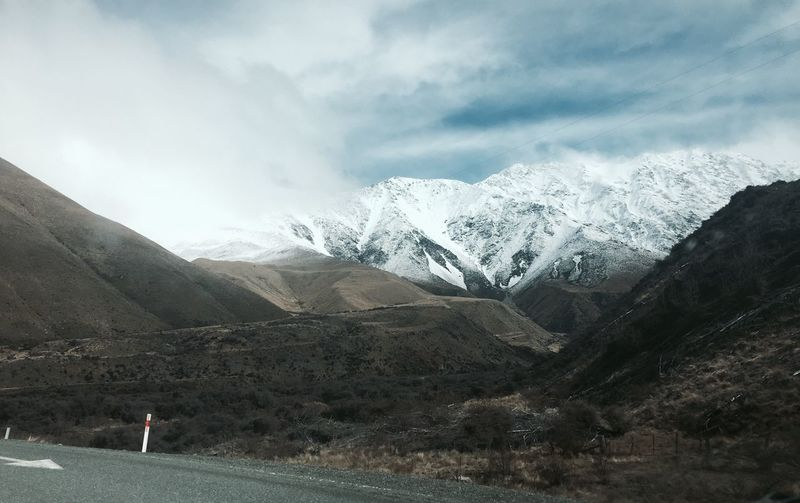 Awesome Lifestyles Cold South New Zealand Snow Winter Holiday Quiet Mountain Sky Cloud - Sky Beauty In Nature Snow Mountain Range Scenics - Nature Outdoors Snowcapped Mountain Leisure Activity Mountain Peak One Person Nature Environment Tranquility Cold Temperature Winter Landscape Non-urban Scene Day