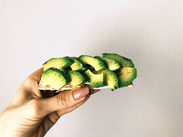 Snacktime Healthy Food Healthy Avocado Toast  Avocado Human Hand Hand Holding Finger Food Green Color