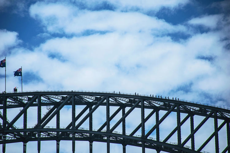 Low angle view of sydney harbour bridge against cloudy sky