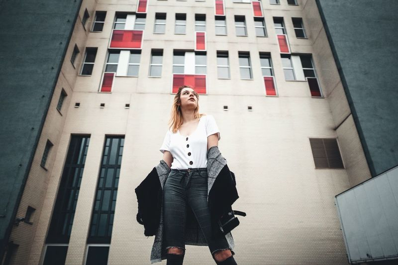 Architecture Built Structure Building Exterior Young Adult One Person Young Women Real People Leisure Activity Lifestyles Front View Blond Hair Beauty Portrait Women Hair Standing Long Hair Day Beautiful Woman Hairstyle