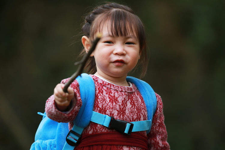 Portrait Of Cute Girl Holding Stick