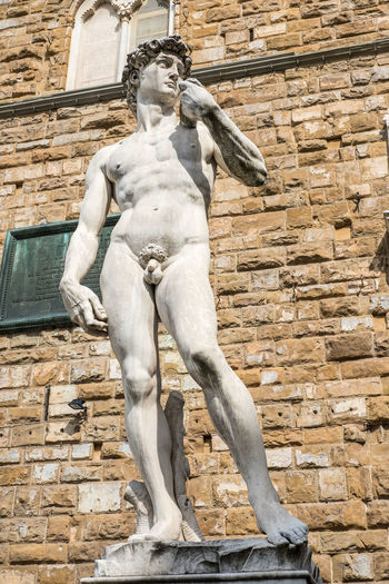 The replica of David, statue by Michelangelo on the Piazza della Signoria in Florence, Italy David Famous Statue Architecture Art And Craft Building Exterior Built Structure Day Florence Human Representation Low Angle View Male Likeness Michaelangelo No People Outdoors Sculpture Statue