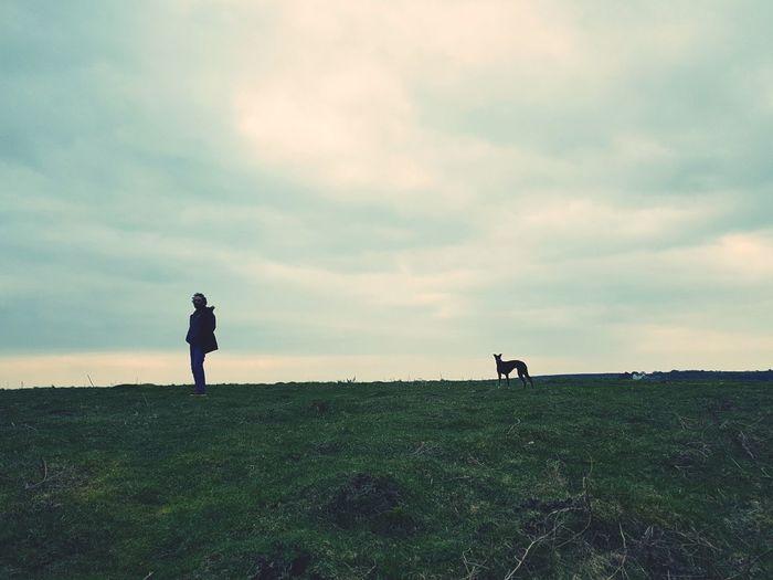 Full Length Men Pets Standing Dog Silhouette Sky Grass