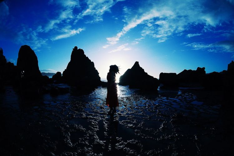 Silhouette Portrait Girl Water Sea Nature