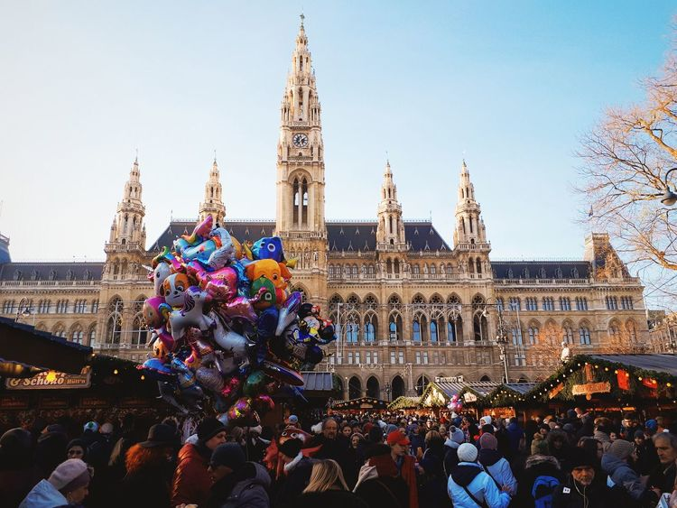 Christmastheme Christmas#decoration Viennalove Vienna_city Photography Viennacity Cultures Large Group Of People Celebration Crowd Travel Destinations Tradition People City Sky Architecture Day Outdoors Adult