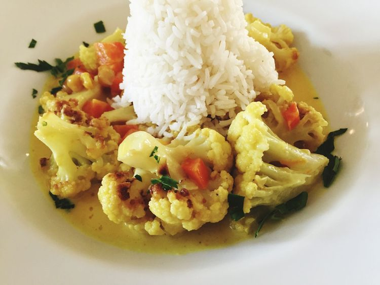 Food Lunch Curry Yellow Curry Califlower Vegetarian Food