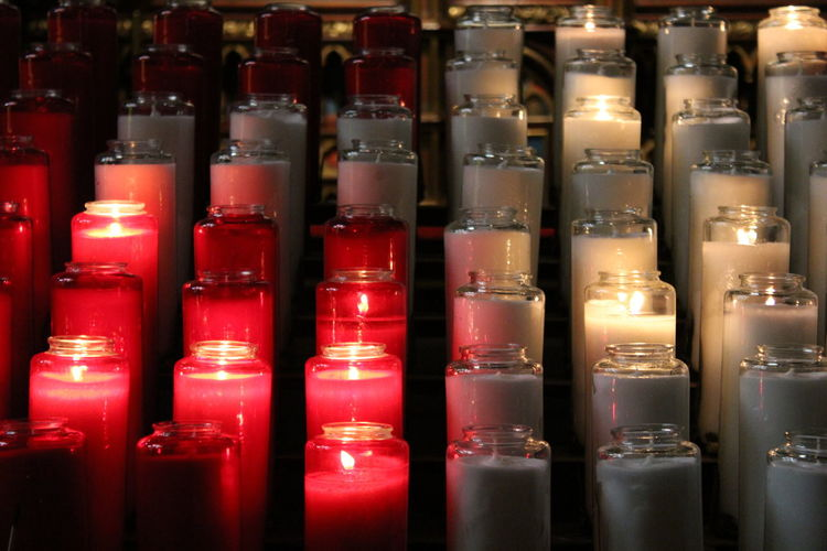 Altar in The Notre Dame Basilica in Montreal In A Row Red Close-up Worship Religious Photography Cathedral Christianity Church Notre Dame Basilica Near Focus Notre Dame Basilica Montreal Religious  Religion Offering To God Montréal Candles Jesus Christ Crucifix Cross Break The Mold