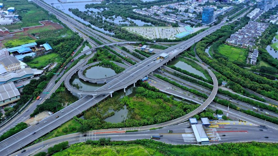 High angle view of highway and cityscape