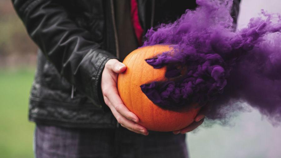 Halloween Pumpkin Smoke Blue Purple October Fall Autumn Scary