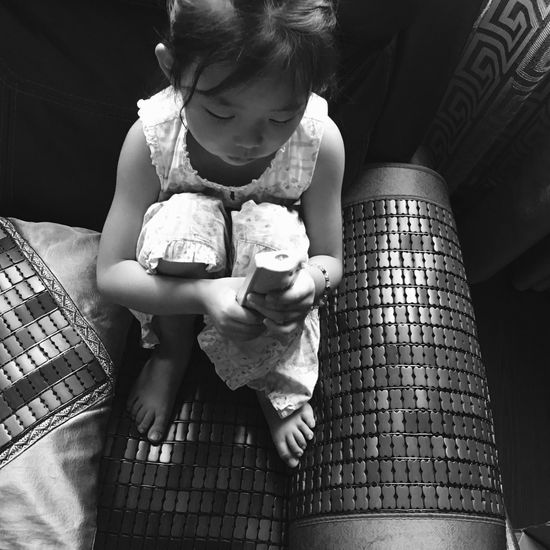 Childhood Real People Holding Sitting Full Length Indoors  One Person Lifestyles Leisure Activity Day Monochrome Black And White Blackandwhite The Week On EyeEm