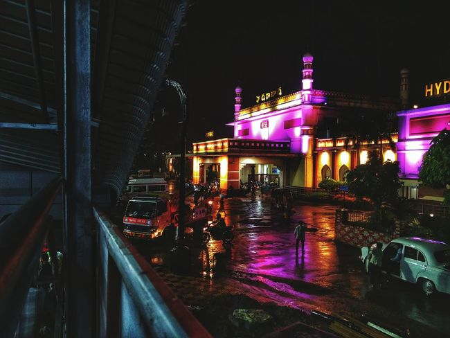 Outdoors Building Exterior Built Structure City Architecture Illuminated Travel Destinations Snapseed Editing  Oneplus2 Oneplusphotography Hyderabaddiaries Hyderabad,India India Hyderabad Monuments Nampally Railway Station,hyd Railway Station