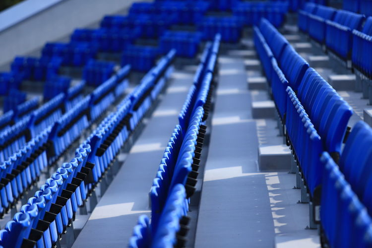 Blue Chairs Canon Canonphotography Tadaa Community Hello World Japan Industry Business Finance And Industry Stadium In A Row Sport Close-up