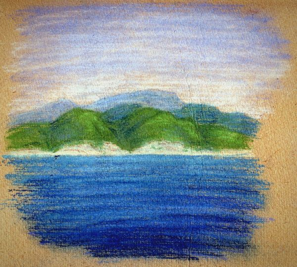 ... an old Plein Air Sketch I did from a boat on the Black Sea somewhere near Tuapse ... Sketching Art ArtWork My Art My Artwork Caucasus Caucasus Mountains рисунок Пастель туапсе Черное море набросок Pastel Sea Hills Shore Coast Coastline Painted Image Multi Colored Textured