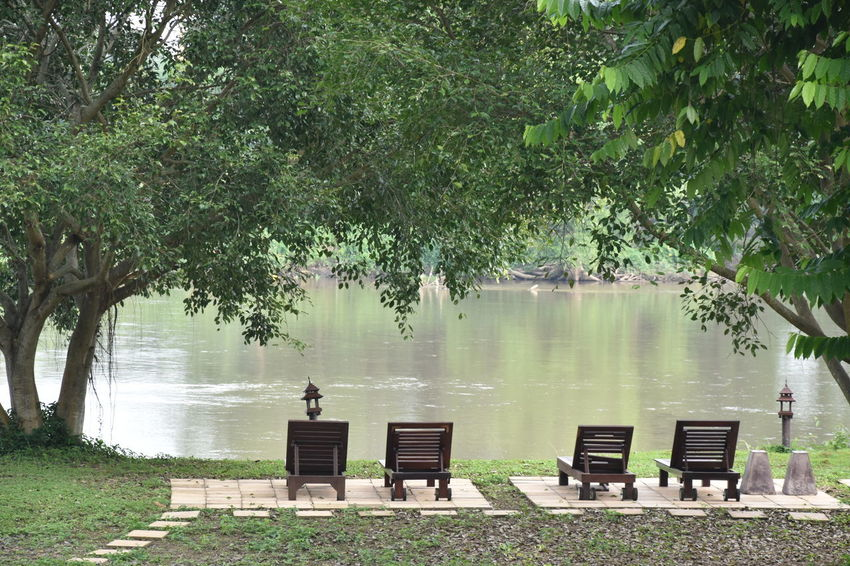 Beauty In Nature Chaingrai Chair Day Kokriver Lake Men Nature Outdoors People River Riverview Sitting Social Issues Tree Water Women