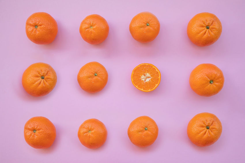 Blue Background Citrus Fruit Close-up Colored Background Directly Above Food Food And Drink Freshness Fruit Group Of Objects Healthy Eating In A Row Indoors  No People Orange Orange - Fruit Orange Color Ripe Still Life Studio Shot Vegetable Wellbeing