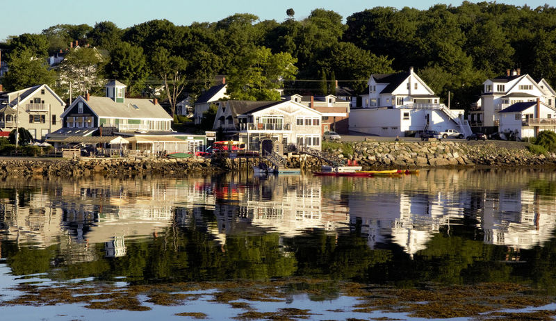 Boothbay Harbor Maine Architecture Building Exterior Built Structure Day House Lake Nature Nautical Vessel No People Outdoors Reflection Sky Stilt House Tree Water Waterfront