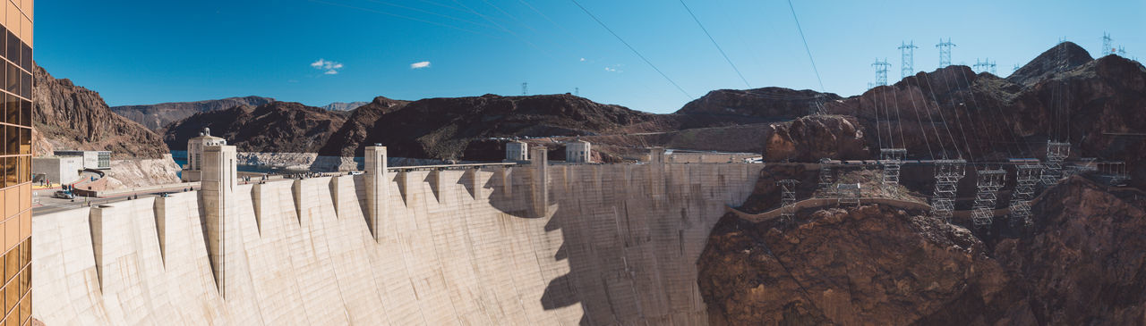 Panoramic view of hoover dam on sunny day