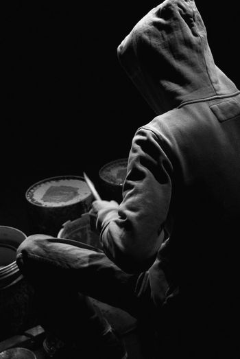 Black Background Blackandwhite Close-up Contrast Drummer Japan Photography Men Monochrome Movement Music Musical Instrument Musician One Person People Performance Playing Real People Shadow Stage Stick