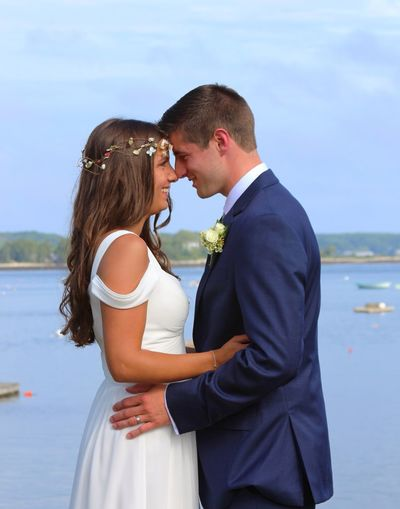 Love Togetherness Two People Real People Bonding Wedding Romance Couple - Relationship Bride Groom Young Women Sea Happiness Outdoors Bridegroom Men Lifestyles Sky Day Women