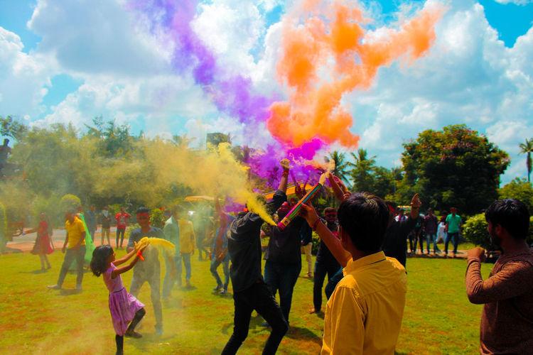People Celebrating Holi At Park