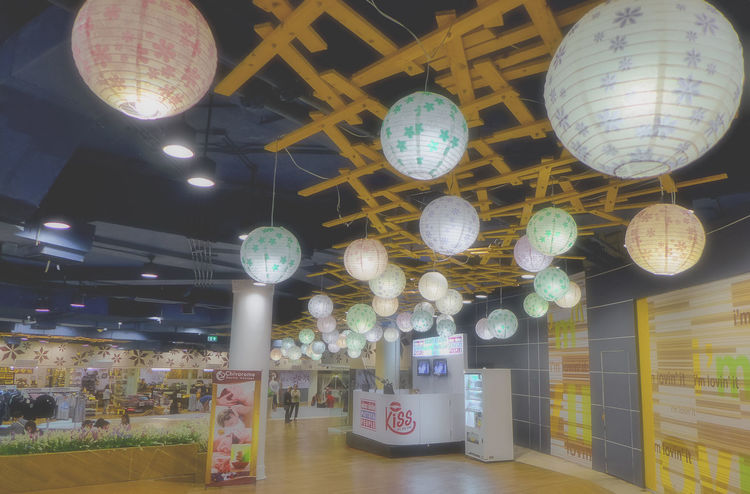 inside a thai shopping mall in Pattaya ASIA Pattaya Thailand Ceiling Day Hanging Illuminated Indoors  Lighting Equipment Multi Colored No People Shopping Mall,