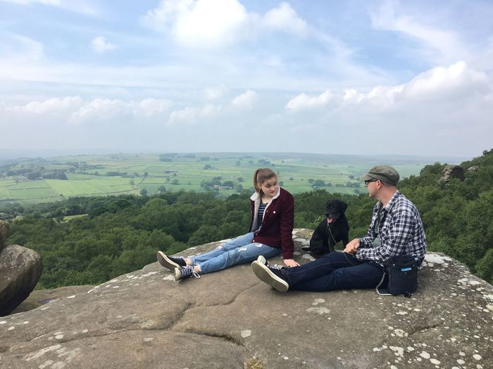 Cliff Father And Daughter Family Time England Yorkshire Sky Cloud - Sky Leisure Activity Lifestyles Real People Casual Clothing Nature Scenics - Nature Two People Beauty In Nature