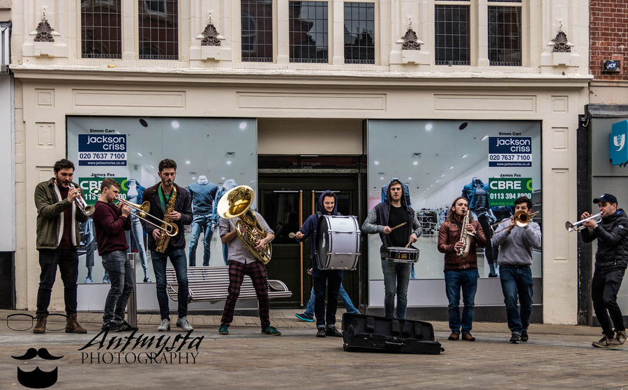 Adult Arts Culture And Entertainment Brass Band Day England Full Length Leeds Live Music Music Outdoors Performance Group Uk