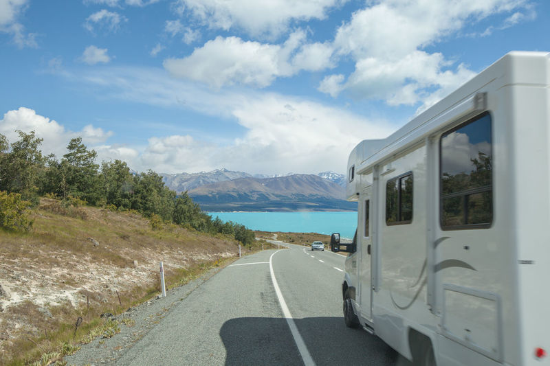 Beauty In Nature Britz Britz Camper Campervan Cloud - Sky Day Lake Pukaki Mode Of Transport Mountain Mountain Range Nature No People Outdoors Road Scenics Sky The Way Forward Transportation Water