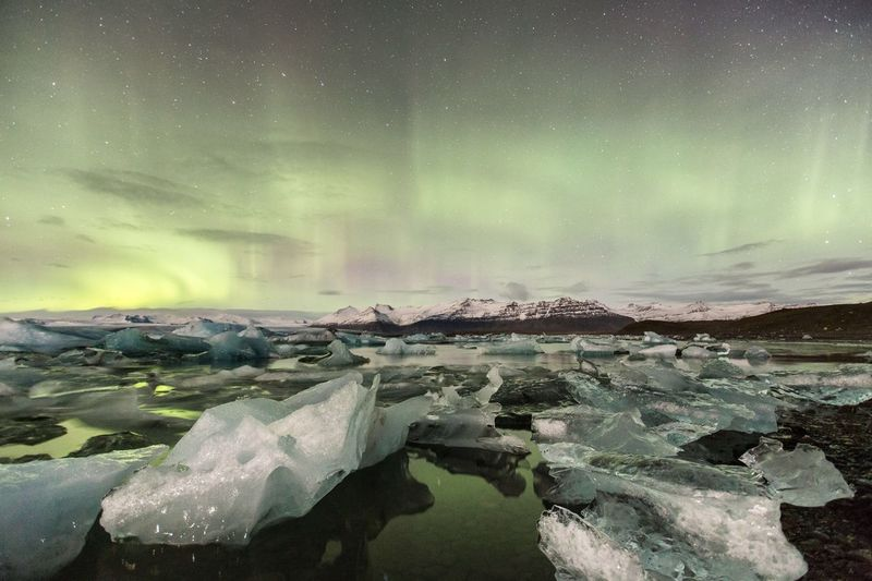 Iceland Landscape Nature Water The Great Outdoors With Adobe The Great Outdoors - 2016 EyeEm Awards Ice Ice Lagoon Northern Lights Aurora Outdoors Travel Fantasy Magic