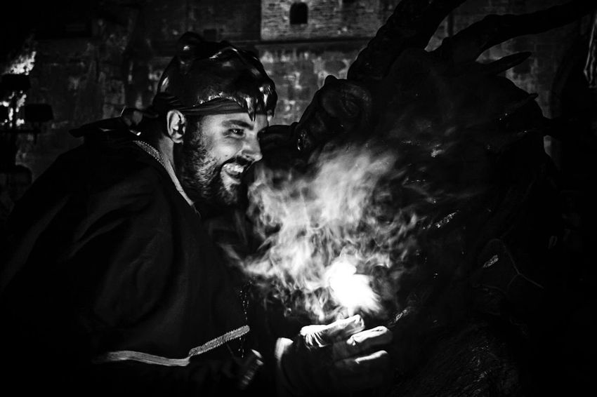Correfocs Black And White Monocrome Photography Travelling Tour-thecity.com Travel Correfocs One Man Only Only Men Beard Smoke - Physical Structure Night Real People Men Nightlife