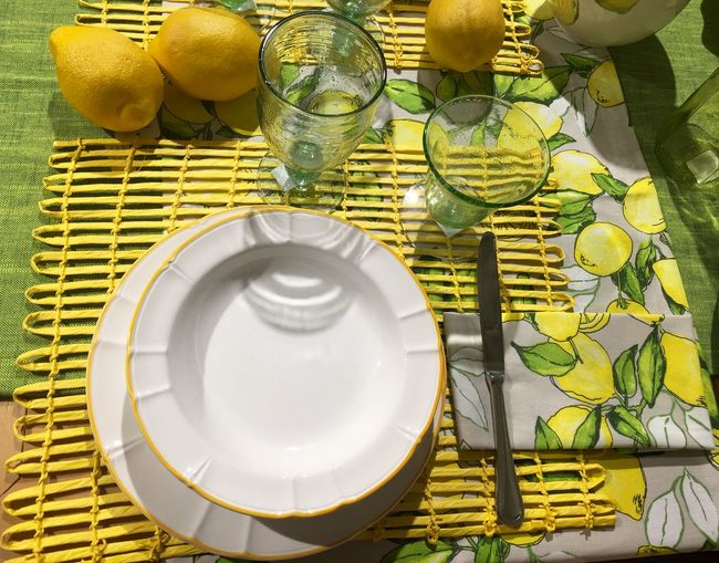 Arrangement Dish Glass Knife Lemon No People Repetition Still Life Summer Table Yellow