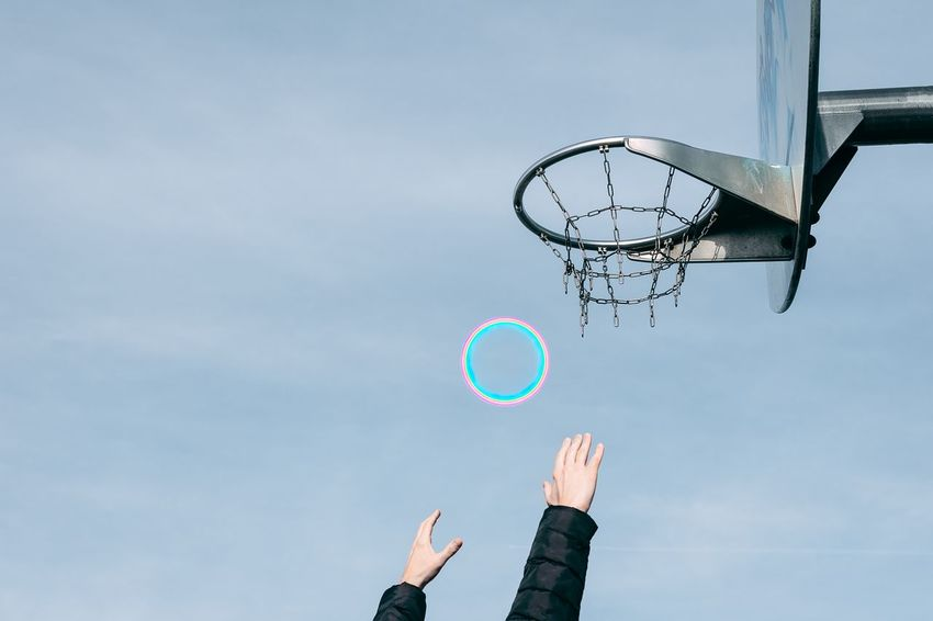 Don't have the guts? Imagine that you have. Rainbow Circle Hands Hands Raised One Person Blue Basketball Basketball - Sport Basketball Hoop Sky Dreamcatcher Flying Mid-air Flight Spread Wings This Is Strength