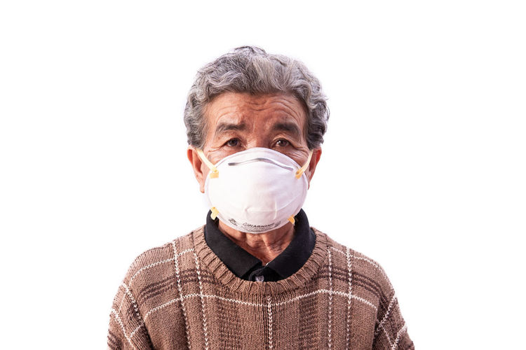 One Person White Background Healthy Mask Pollution Air Care