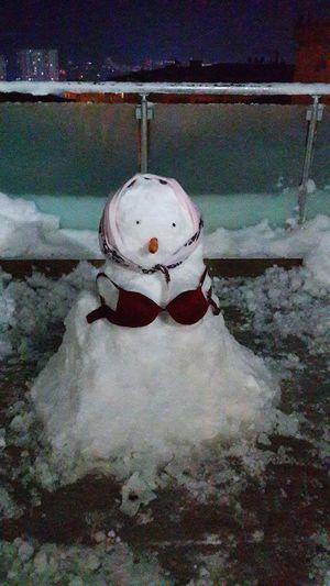 Snowwoman Beautiful Girl Snowy Day