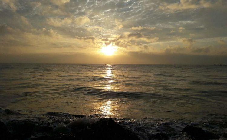 Sunrise Pondicherry RockBeach Nature Epic Clouds Golden Sunrise Vacations Sun Tides