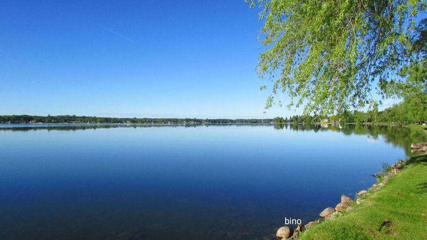 Early Morning Around The Lake Sunny Day 🌞 Beautiful Blue Sky Stillness Lake Like Glass Lake Cadillac Pure Michigan