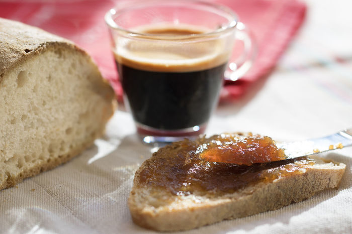 espresso coffee and bread with marmalade Home Bread Breakfast Coffee Cup Espresso Jam Marmalade Morning